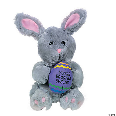 "Plush ""You're Eggstra Special"" Gray Bunny"