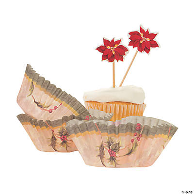Poinsettia Cupcake Liners with Picks