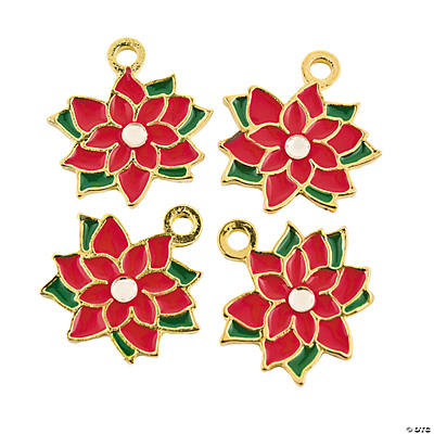 Poinsettia Enamel Charms