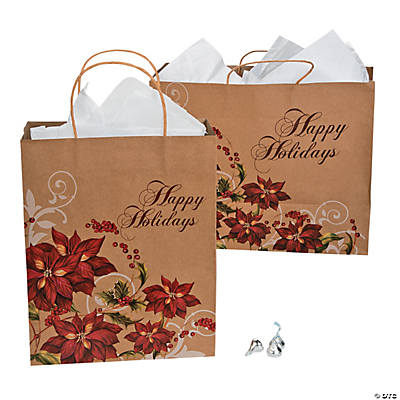Poinsettia Kraft Bag Assortment