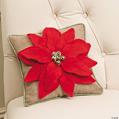 Poinsettia Pillow with Jingle Bells