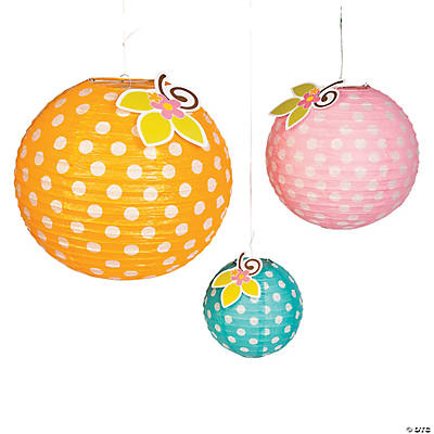 Polka Dot Hanging Paper Lanterns with Flowers