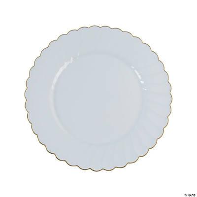 Premium White With Gold Scallop Plastic Dinner Plates