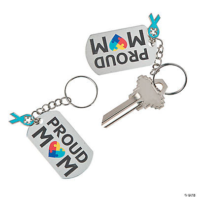 Proud Mom Autism Awareness Keychains with Charm