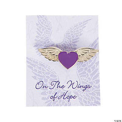 Purple Awareness Angel Wings Pins on Cards