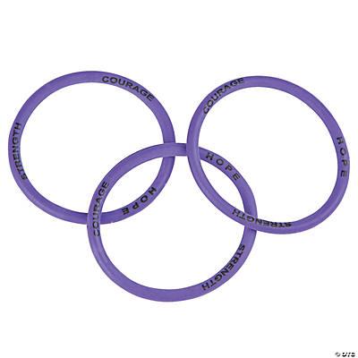 Purple Awareness Ribbon Courage Silicone Bracelets