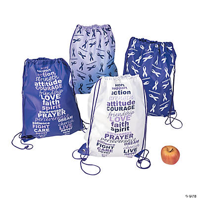 Purple Awareness Ribbon Drawstring Bags