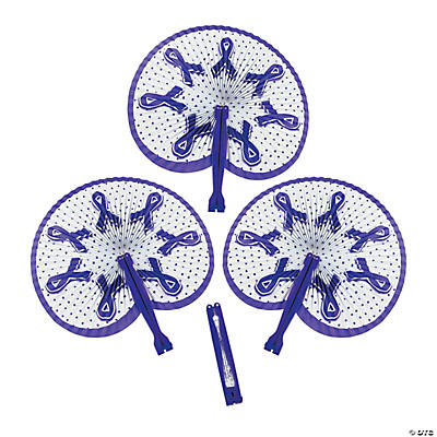 Purple Awareness Ribbon Folding Fans