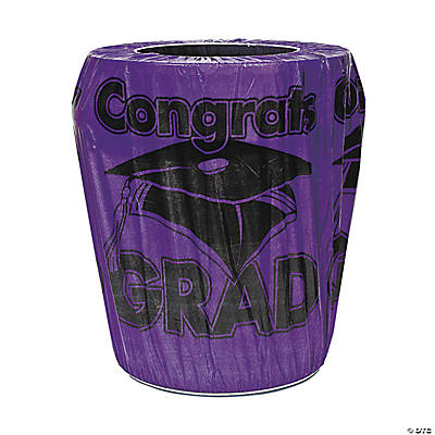Purple Congrats Grad Trash Can Cover