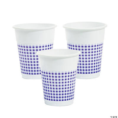 Purple Gingham Disposable Cups