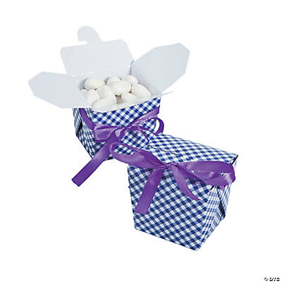 Purple Gingham Take Out Boxes