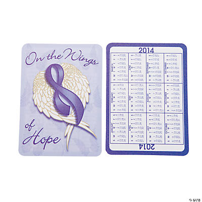 2014 Purple Ribbon Wallet Card Calendars