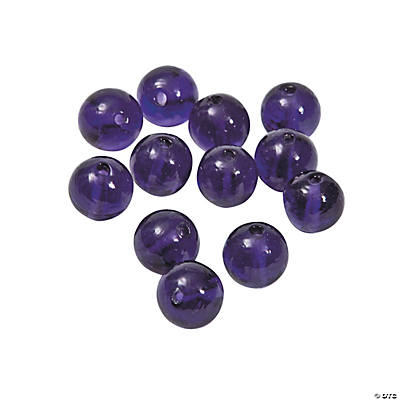 Purple Round Lampwork Beads - 11mm