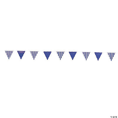 Purple Striped & Polka Dot Pennant Banner