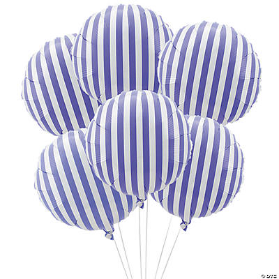 Purple Striped Mylar Balloons