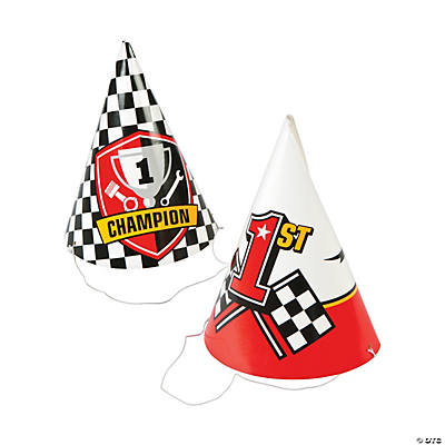 Race Car Party Cone Hats Assortment