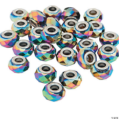 Rainbow AB Finish Faceted Large Hole Beads - 15mm