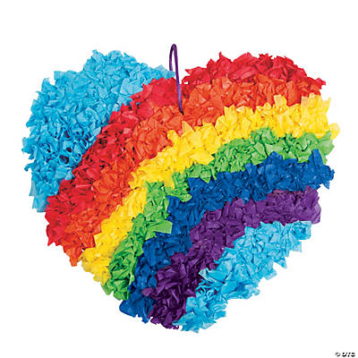 Rainbow heart tissue paper craft kit oriental trading for Tissue paper for crafts