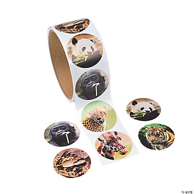 Realistic Zoo Animal Roll of Stickers
