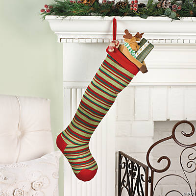 Red & Green Striped Knit Christmas Stocking