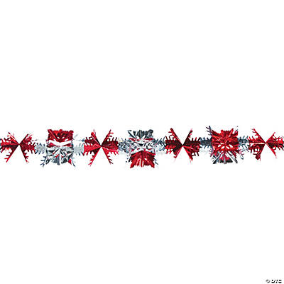 Red and Silver Snowflake Garland