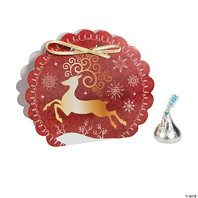 Red & White Reindeer Favor Boxes with Bows