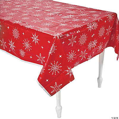 Red & White Snowflake Tablecloth