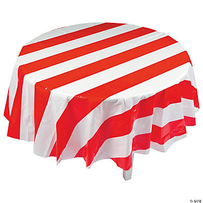 Red U0026 White Striped Round Plastic Tablecloth