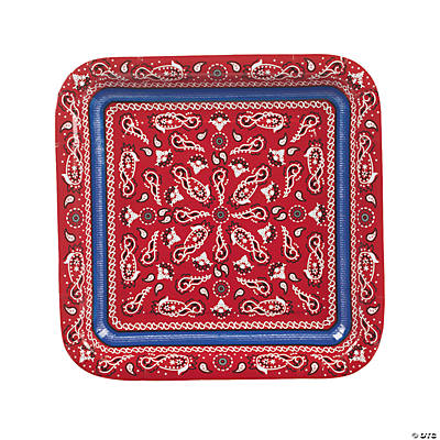 Red Bandana Square Dinner Plates