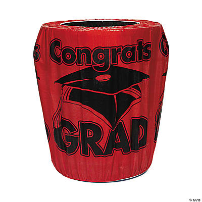 Red Congrats Grad Trash Can Cover