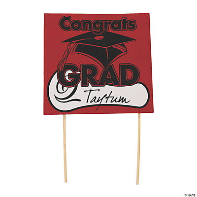 "Red ""Congrats Grad"" Yard Signs"