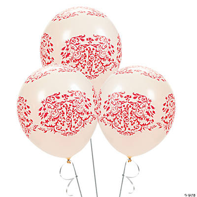 Red Flourish Latex Balloons