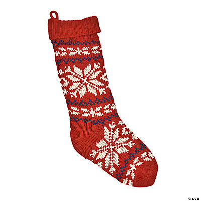 Red Knit Snowflake Christmas Stocking