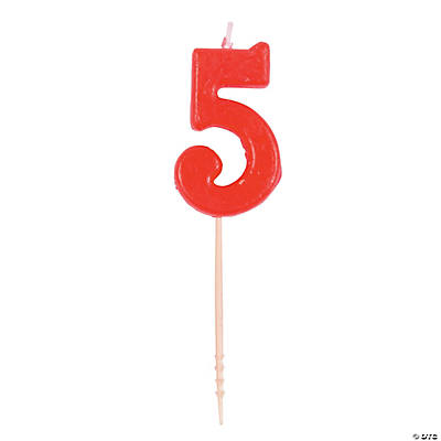 Red Number 5 Candle