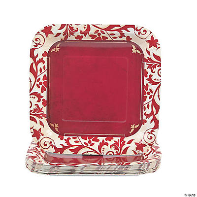 Red on Red Square Dessert Plates