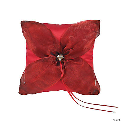Red on Red Wedding Ring Pillow