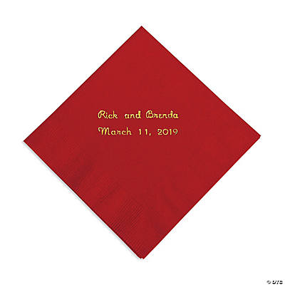 Red Personalized Beverage Napkins with Gold Print