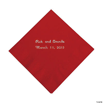 Red Personalized Beverage Napkins with Silver Print