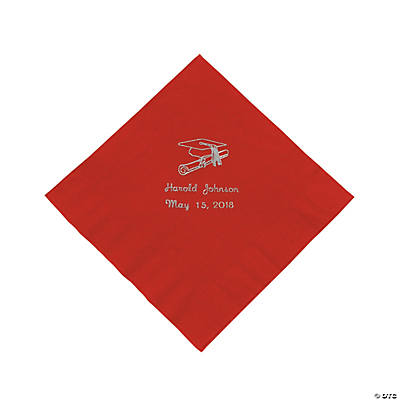Red Personalized Graduation Luncheon Napkins - Silver Print