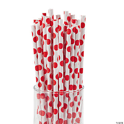 Red Polka Dot Paper Straws