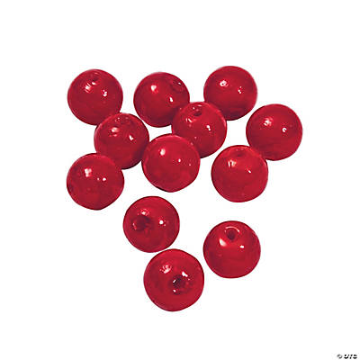 Red Round Lampwork Beads - 11mm