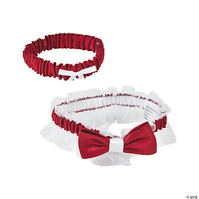 Red Satin Garter with Bow Set