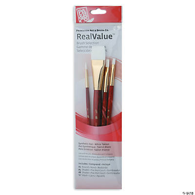 Red Short Handled Paint Brush Set
