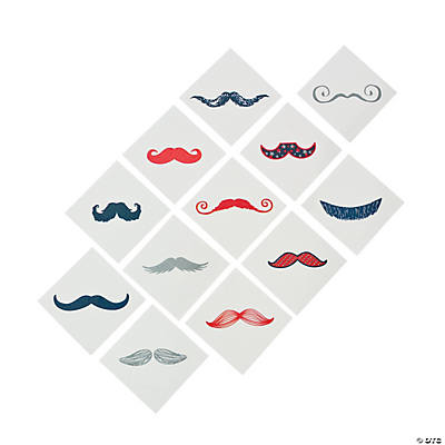 Red, White & Blue Glitter Fingerstache Tattoos
