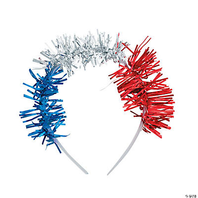 Red, White & Blue Headbands with Tinsel