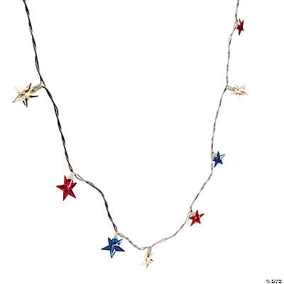 Mini Star String Lights : Red, White & Blue Mini Star String Lights - Oriental Trading - Discontinued