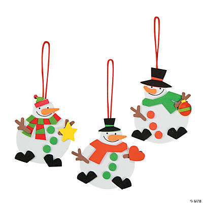 Red, White & Green Snowman Ornament Christmas Craft Kit
