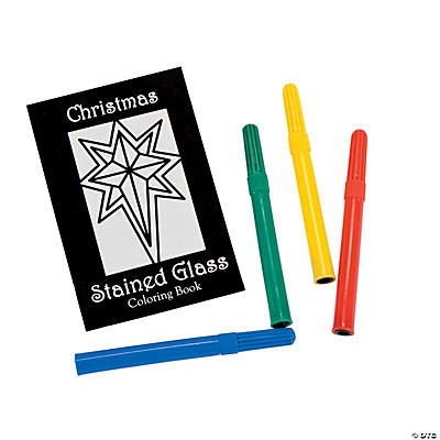 Religious Christmas Stained Glass Coloring Books with Markers