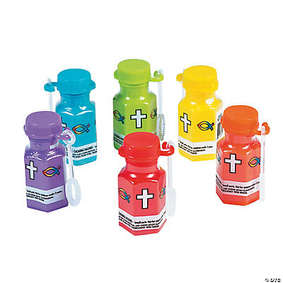 Religious Hexagon-Shaped Bubble Bottles