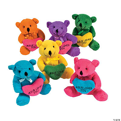 Religious Stuffed Bears with Embroidered Hearts